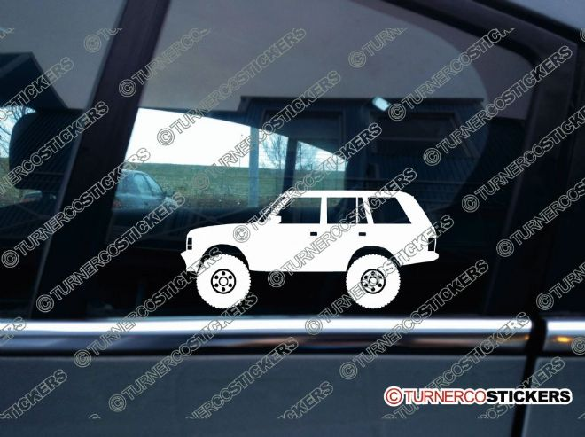 2x Lifted Range Rover Classic offroad 4x4 silhouette stickers
